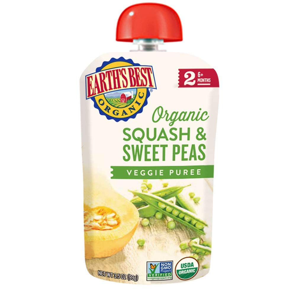 Earth's Best Organic Stage 2 Baby Food, Squash & Peas, 3.5 Oz Pouch (Pack of 12)
