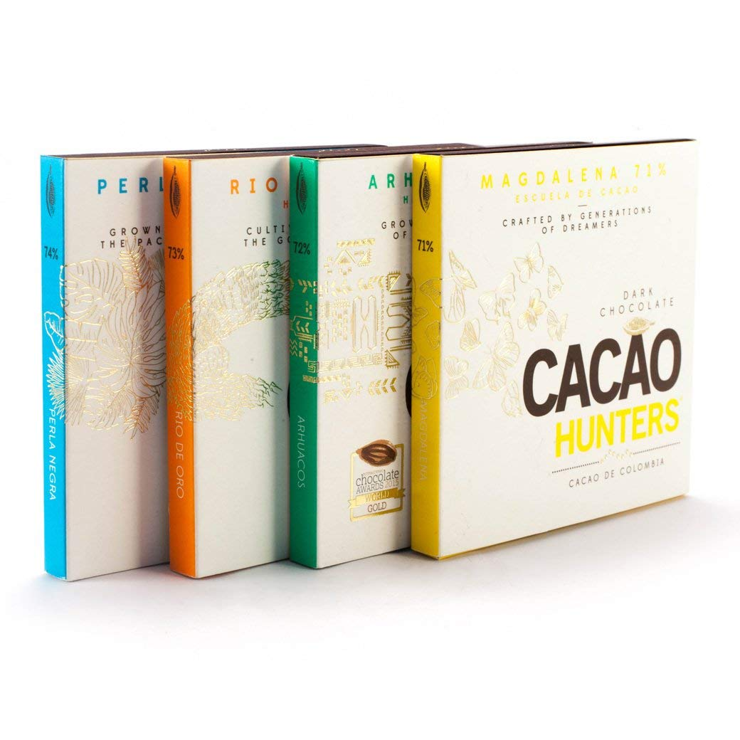 Award Winning Cacao Hunters Premium Colombian Chocolate Gift Box - Heirloom Collection gift set (4 Bars) - birthdays, holiday gift, valentines, mothers day - fathers days - dark chocolate gift by CACAO HUNTERS