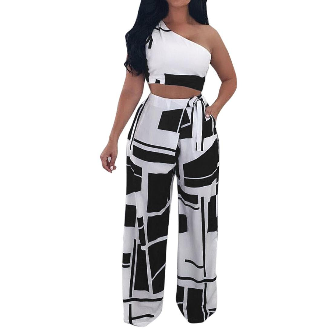 Hatoppy Women Nightclub Fashion Clothes Club Sexy Strapless Bandage Two Piece Set (XL, Black)