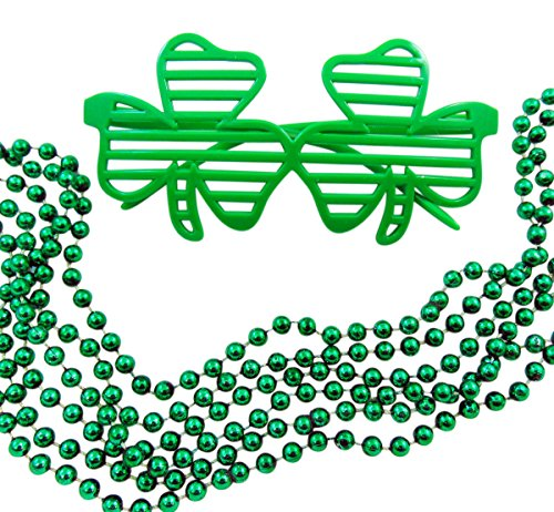 Saint Patrick's Day Shamrock Shutter Shades and Beads Accessories Party Wear Set