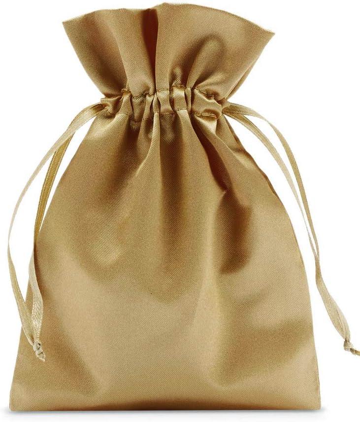 10 bolsas de satén con cordón para cerrar, tamaño 30x20cm, bolsita de satén, envoltorio elegante para regalos, joyas, navidad, cumpleaños y bautizos (dorado)