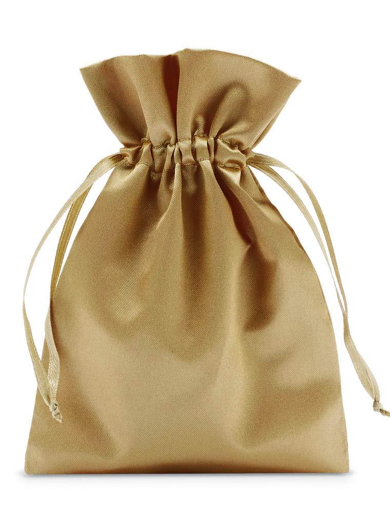 organzabeutel24 | 10 Stü ck Satinbeutel, Satinsä ckchen, Grö ß e 30x20 cm, Farbe altgold, mit Satinband, Weihnachtsverpackung fü r den Weihnachtskalender, Nikolausverpackung