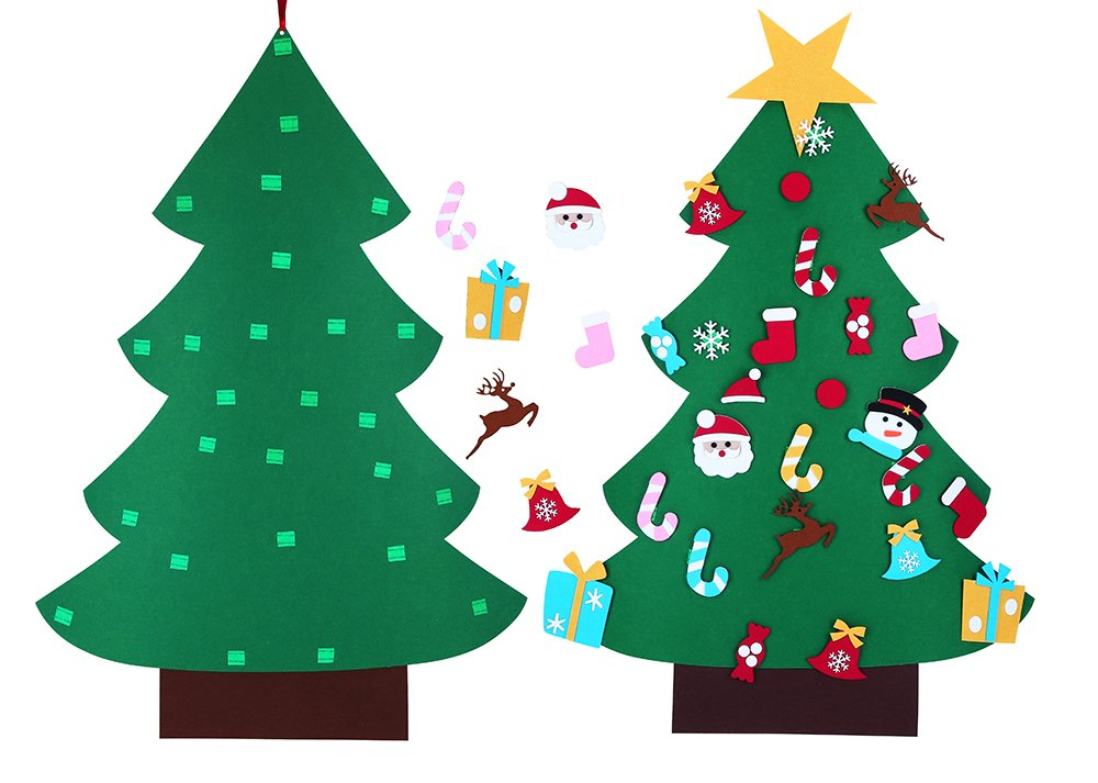 BLUBOON DIY Felt Christmas Tree & Ornaments for Kids Wall Hanging Decorations Xmas Gift New Year Home Door Decors (3ft)