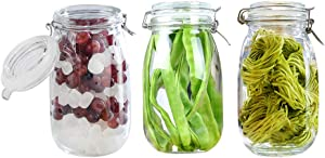 BPFY 3 Pack 50oz Wide Mouth Mason Jars with Hinged Lids, Glass Jars with Airtight Lids and Rubber Seal for Food Storage, Cereal, Pasta, Sugar, Beans, Kitchen Canisters, 8 Chalk Labels, 1 Pen