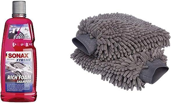 Sonax Xtreme Richfoam Shampoo 1 Liter Schaum Snow Foam Shampoo Erzeugt Schaumteppich Ph Neutral Berry Duft Art Nr 02483000 Amazon Basics Deluxe Auto Waschhandschuh Mikrofaser 2 Stück Auto