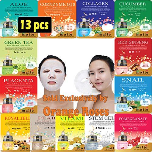 Mask Essence 5 Sheets ([OBS lab] 13 pcs Ultra Hydraiting Essence Mask ( 13 pcs Total ), Korean Facial Mask Sheet, Skincare Moisturizing)
