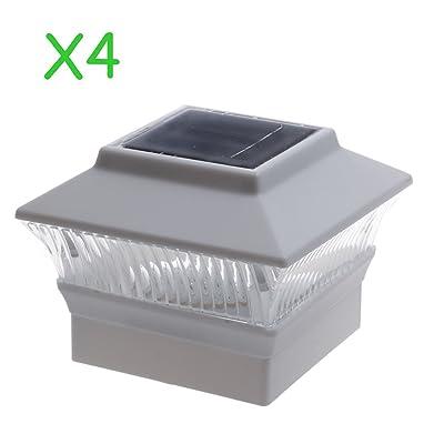 (4 Pack) Solar Power Square White Outdoor Garden Deck 4x4 PVC Fence Post Light