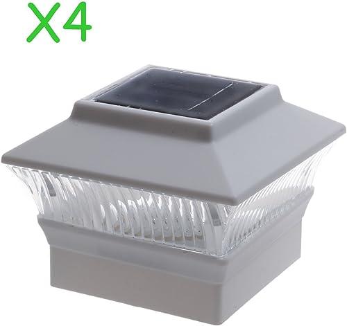 4 Pack Solar Power Square White Outdoor Garden Deck 4×4 PVC Fence Post Light