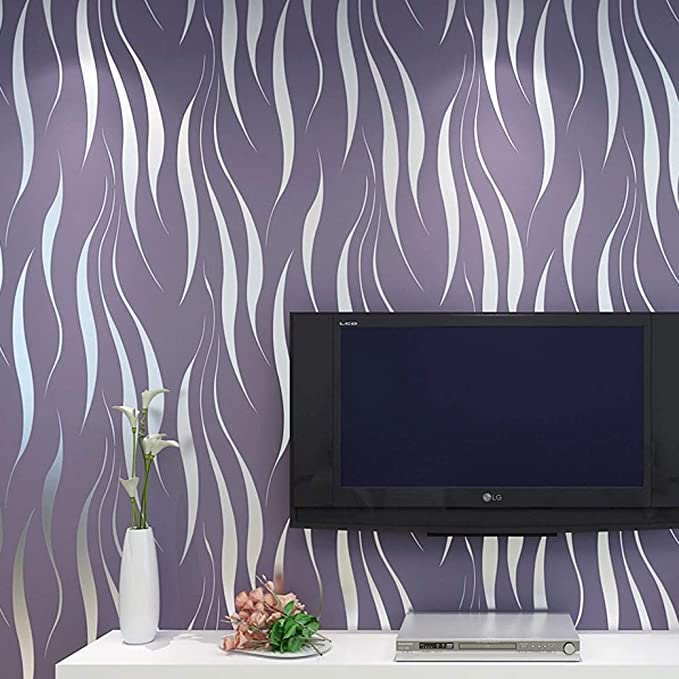 Rollo de papel pintado en relieve con diseño de rayas, color ...
