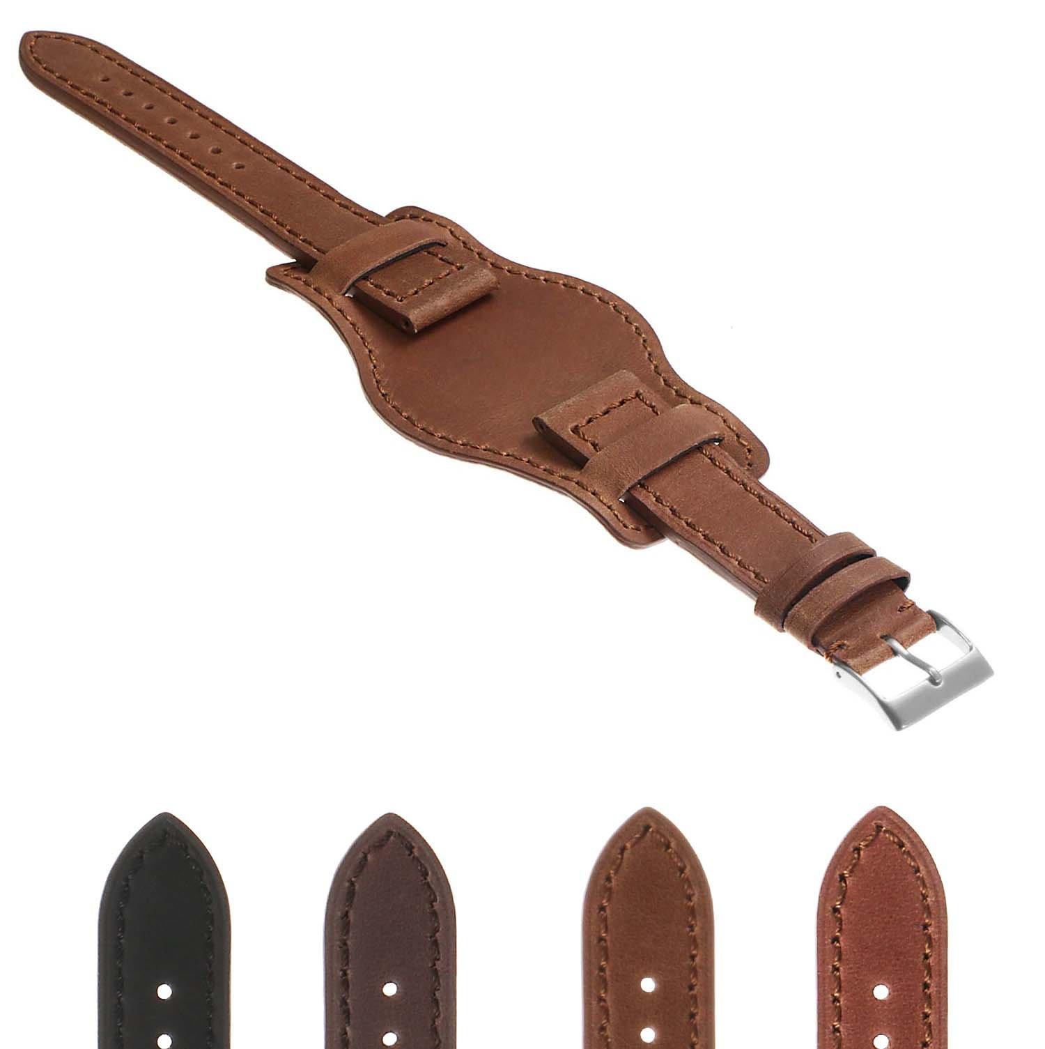 DASSARI Legend Distressed Vintage Style Bund Leather Watch Band 18mm 19mm 20mm 21mm 22mm 24mm
