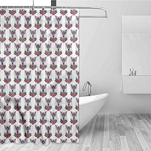 Gloria Johnson Tattoo Bathroom Shower Curtain Deer Accessories Peonies Funny Shower Curtain W40 x L72 Inch (Deer Toilet Tattoo)