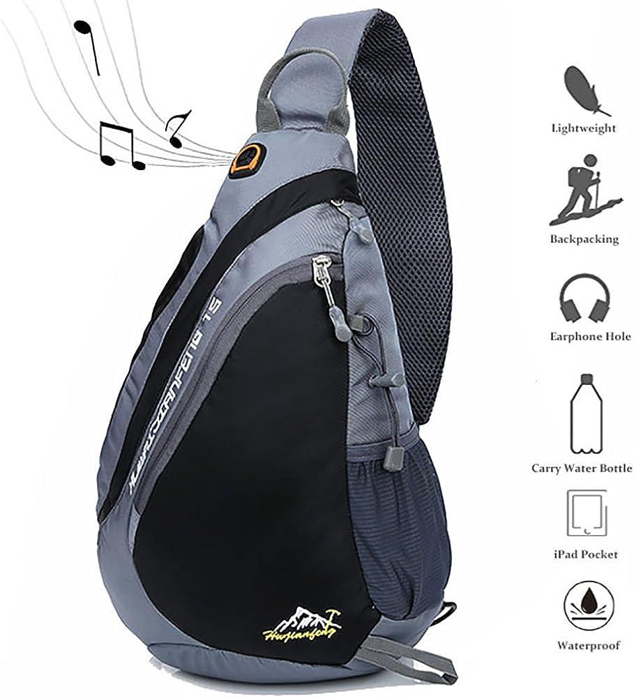 Peicees Sling Backpack Gym Chest Daypack Bag w/Water Bottle Holder&Strap Pocket