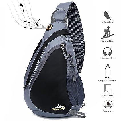 d3ebde9906 Peicees Travel Sling Backpacks Crossbody Sling Chest Backpack Bag Single  Shoulder Sling Bags with Water Bottle Holder and Strap Phone Pocket for  Women Men