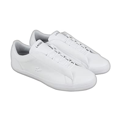 367084acd968f6 Lacoste Lerond Hidden Lace 318 1 U Cam Mens White Leather Sneakers Shoes  10.5