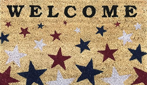 Door Patriotic - Avera Patriotic Welcome Doormat Coir Fiber with Anti-Slip PVC Backing, 17