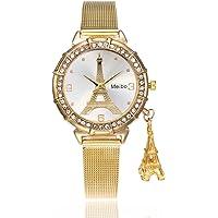 Reloj Fenebort, MEIBO Reloj de Pulsera de Cuarzo de la Torre Eiffel para Mujeres de Lujo, Banda de Reloj de Acero Inoxidable, Reloj para Mujeres, Clásico, Moda, Regalo del día de San Valentín