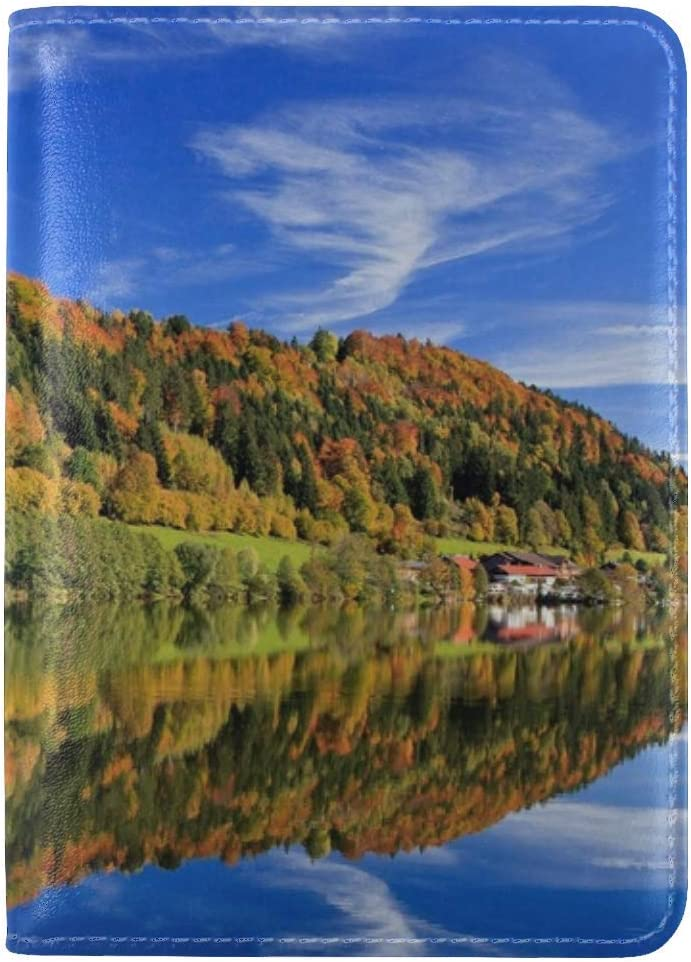 Autumn Trees Beach Reflection Leather Passport Holder Cover Case Travel One Pocket