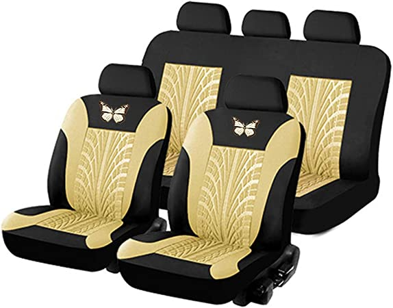 Kkmoon Sitzbezüge Auto Set Universal Autositzbezüge Pu Leder Schonbezüge Beige Vordersitze Und Rücksitze Für Alle Autos 11stücke Auto