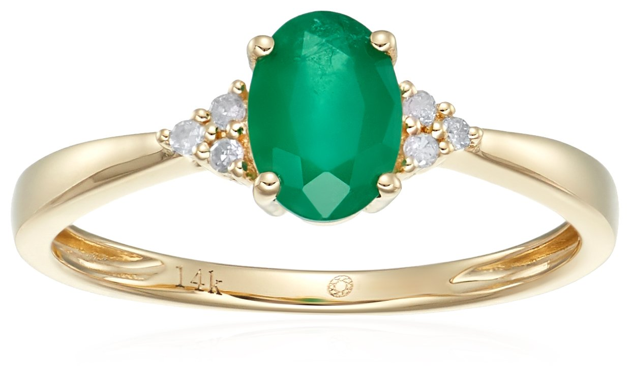 14k Yellow Gold Emerald and Diamond Classic Engagement Ring (1/10 cttw, I-J Color, Clarity I2-I3), Size 7