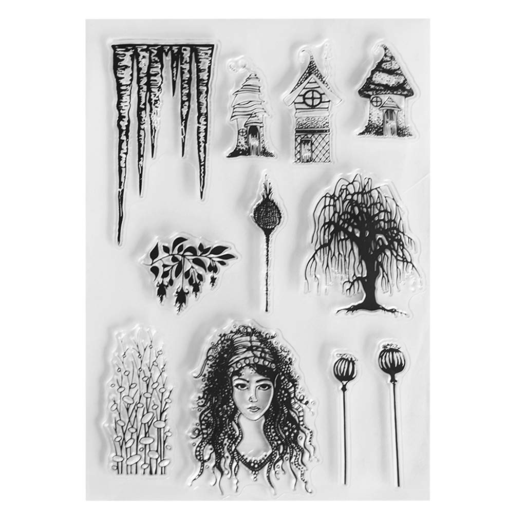 Eyessssty 1Pc Fairy Botany Of Clear Stamps Card Making DIY Scrapbooking Journaling Planner