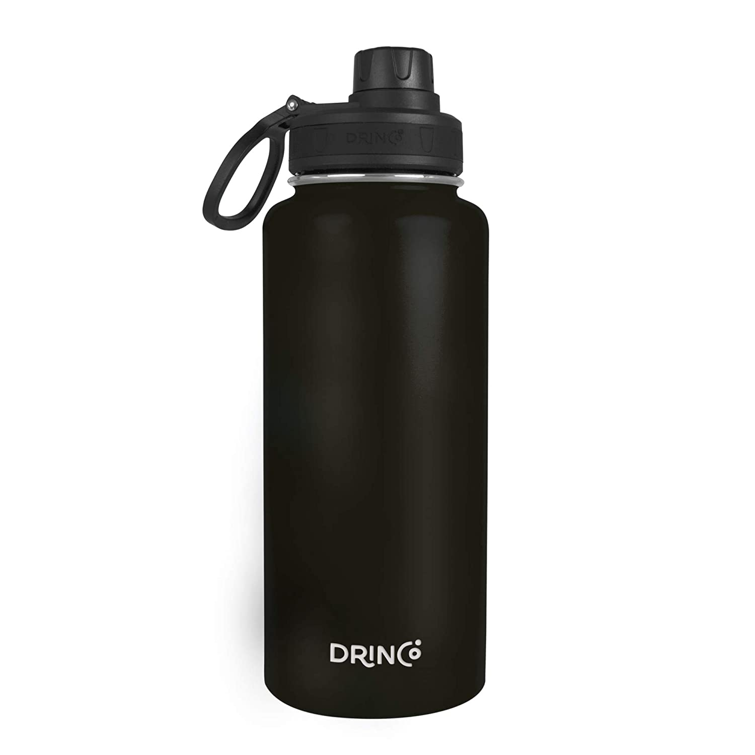 Drinco - Stainless Steel Water Bottle Double Wall Vacuum Insulated | Perfect for Traveling Camping Hiking | BPA Free (32oz-Black)