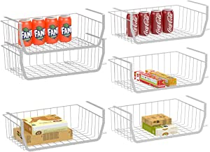 Under Shelf Basket, iSPECLE Stackable Wire Storage Basket Hanging Baskets Save Space for Storage Pantry Organization Easy to Install, 6 Pack