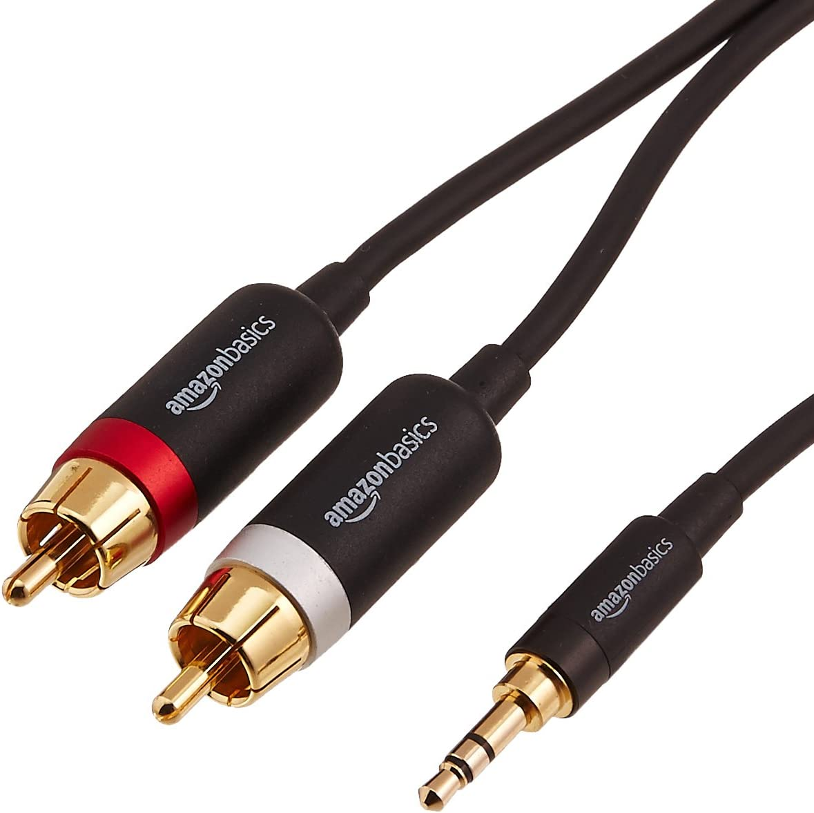 AmazonBasics 3.5mm to 2-Male RCA Adapter Cable - 15 Feet, 5-Pack
