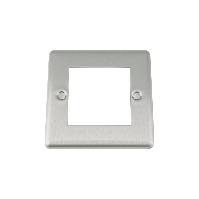 A5 Satin Brushed Matt Chrome - Classic - Modular Data Grid Outlet Faceplate - 50 x 50 mm A5 Products Ltd