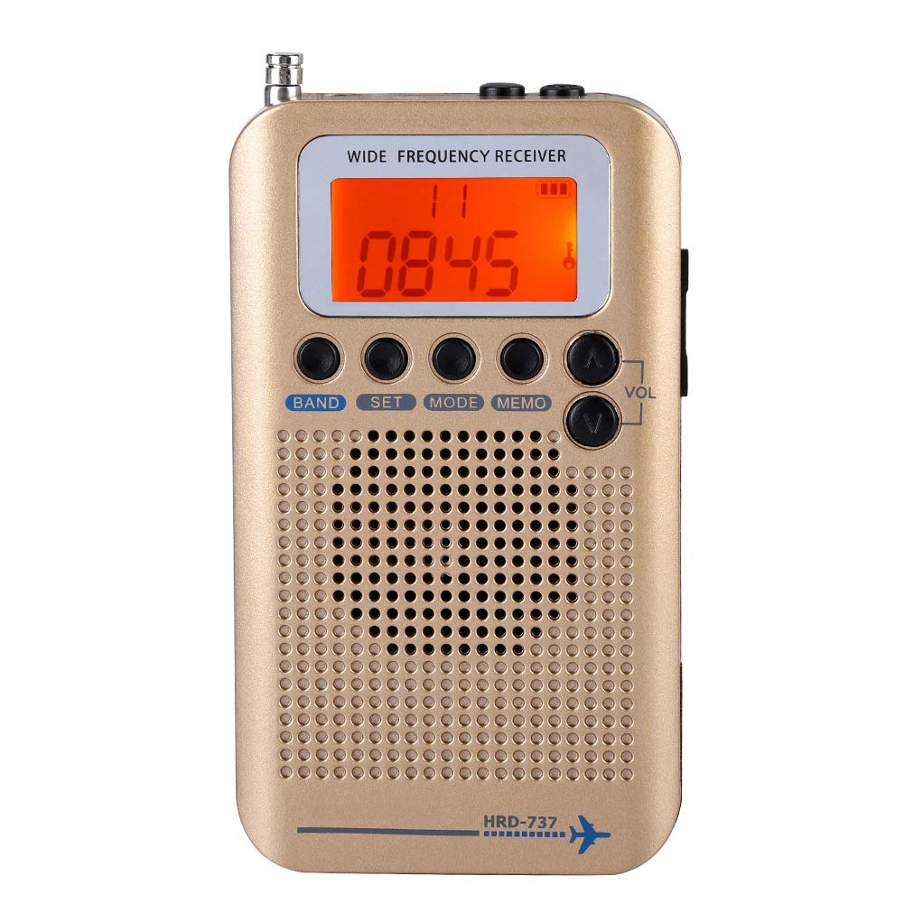 Eboxer Radio Portable Ecran LCD AIR/FM/AM/CB/SW/VHF Full Band Radio Récepteur 4 Modes de Recherche (Or)