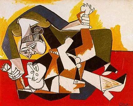 JH Lacrocon Mujer con Un Perro 1955 de Pablo Picasso - 120X95 cm Pinturas Abstracto a