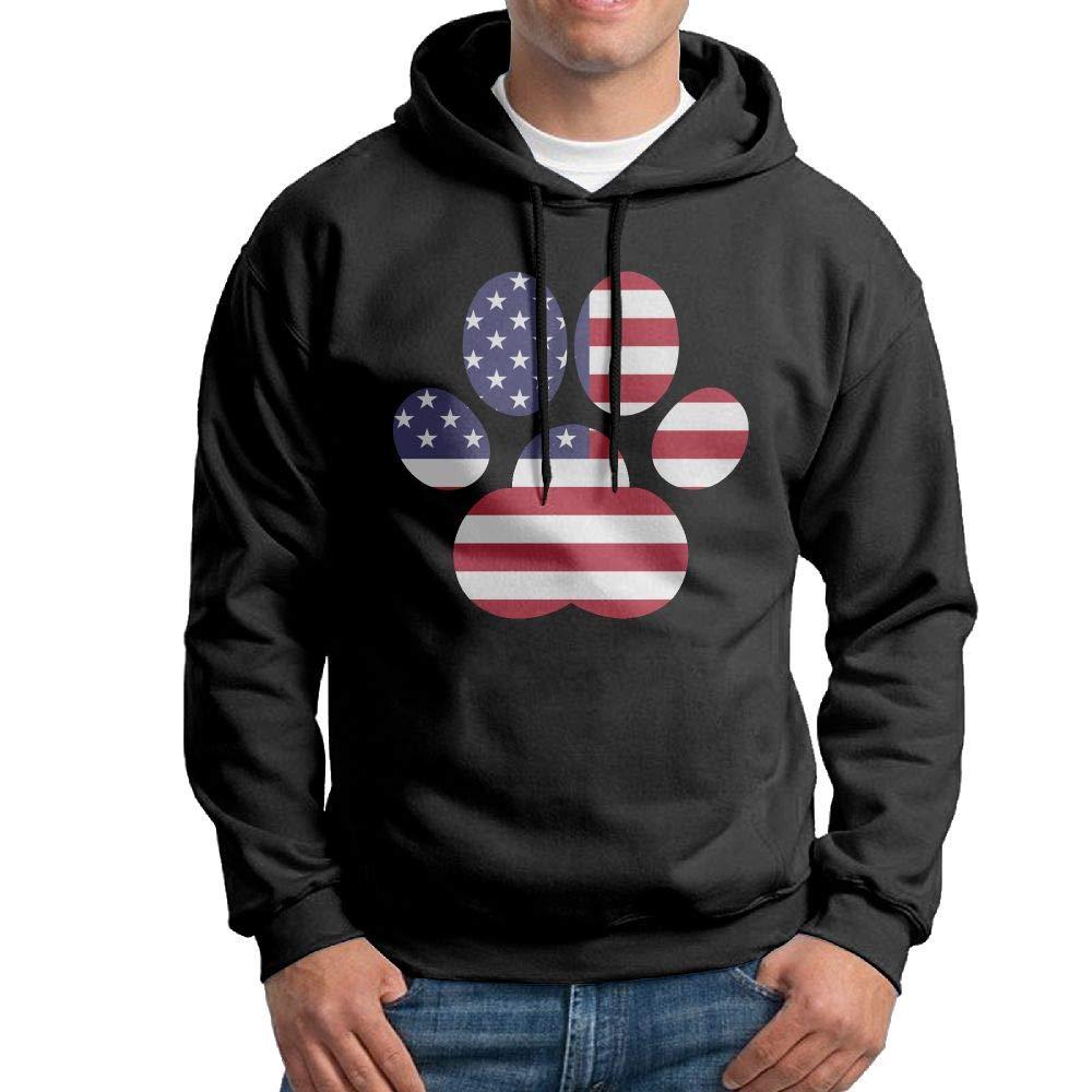 Mens Pullover Hoodies American Flag Dog Paw Long Sleeve Fleece Hooded Sweatshirt Sweater Blouses Tops