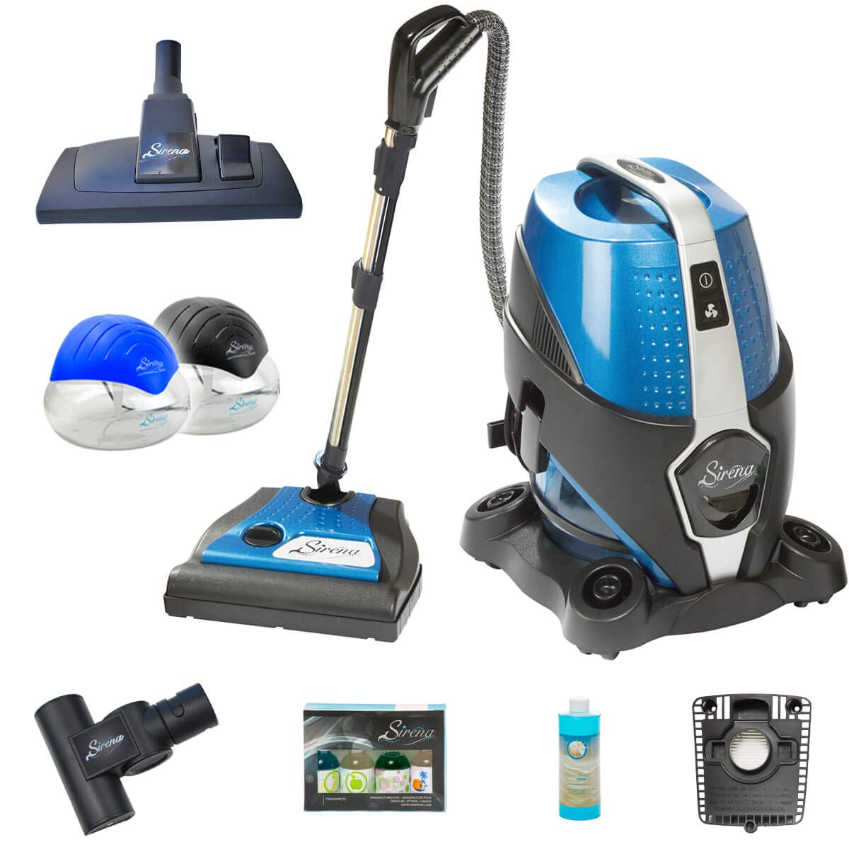 Sirena Vacuum Cleaner Premium Pack – Includes 2 Sirena Twister Air Purifiers, Sirena Turbo Brush, Ocean Breeze Deodorizer, Sirena Fragrance Pack, HEPA Filter, and Exclusive Sirena Multi-Floor Tool