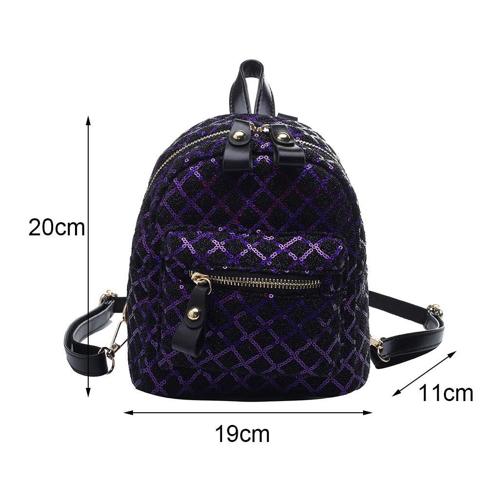 WGKUMMQN Mini ryggsäck mode vild rombisk multifunktionell mini paljett axelväska studentväska kvinnors axelväska röd