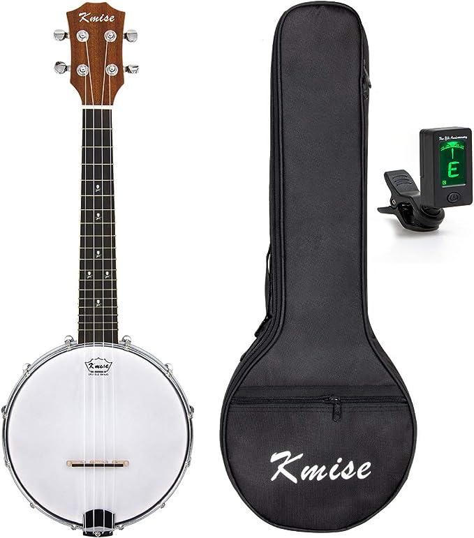 Kmise Banjo Ukulele 4 String Ukelele Uke Concert 23 Inch Size Maple with Bag Tuner (Orange Sapele)