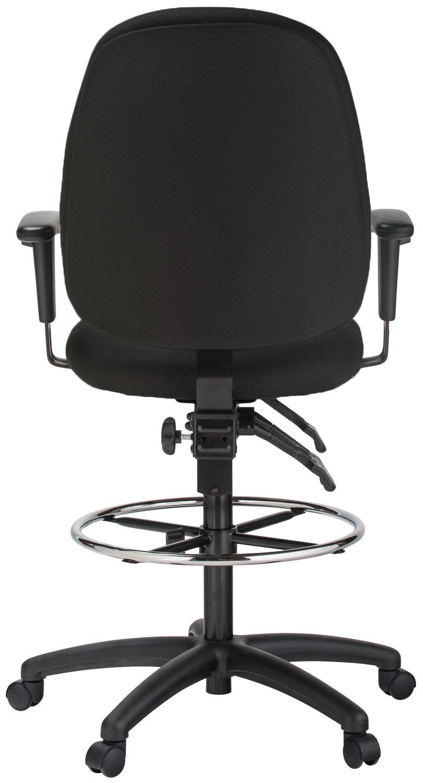 Harwick Black Fabric Ergonomic Adjustable Drafting Chair