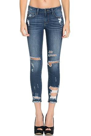 6951239b68f44 Dark Destroyed Cutout Ankle Skinny, Dark Denim, 9 at Amazon Women's ...