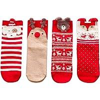Toyvian 4 Pares de Calcetines navideños para Dama