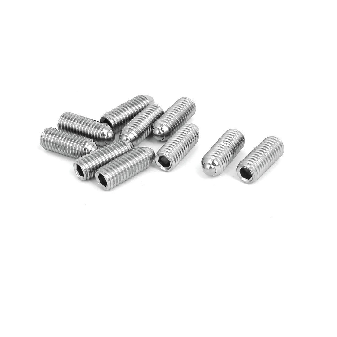 sourcingmap® M8x20mm Tornillo Prisionero de muelle de acero inoxidable 304 con punta de bola hexagonal 10pcs a16122300ux0149