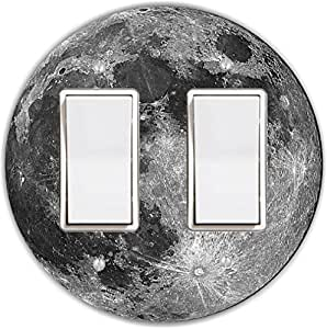 Rikki Knight RND-LSPROCKDBL-187 Planet Earth Round Double Rocker Light Switch Plate