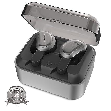 Verdaderos auriculares inalámbricos Bluetooth, Auriculares estéreo inalámbricos MAOKOT Auriculares TWS pequeños gemelos, Cancelación de