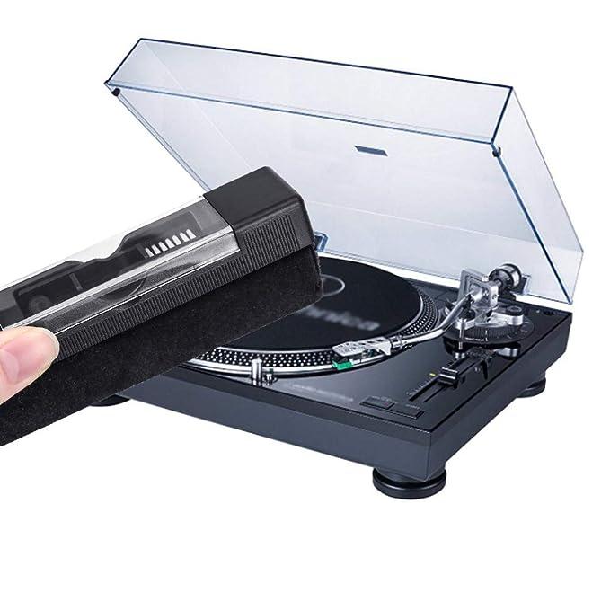 yotako limpiador de discos de vinilo Kit, terciopelo anti estática cepillo de limpieza, cepillo de limpieza para lápices capacitivos con gamuza de ...