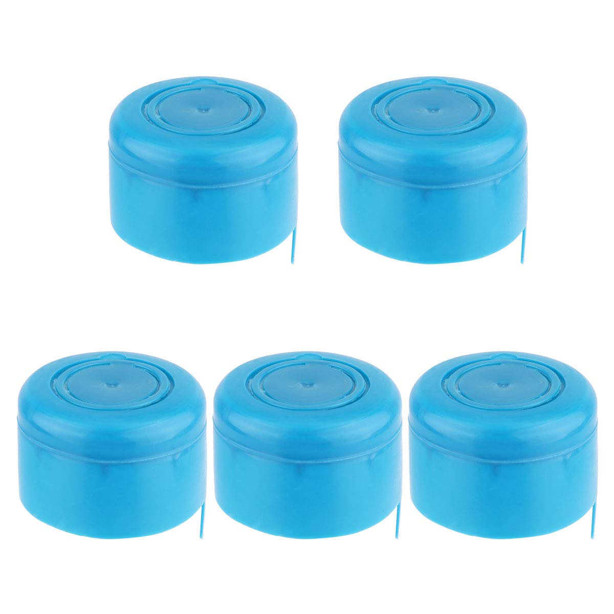 iiniim 5Pcs Reusable Non-Spill Water Bottle Snap On Caps Replacement for 55mm 3 and 5 Gallon Water Jugs, 2pcs Bottle Handle Carrier Lifter 5pcs Jug Caps One Size