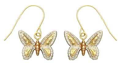e4ac735bfcc Adara 9 ct Yellow Red White Gold Diamond Cut Butterfly Drop Earrings   Amazon.co.uk  Jewellery