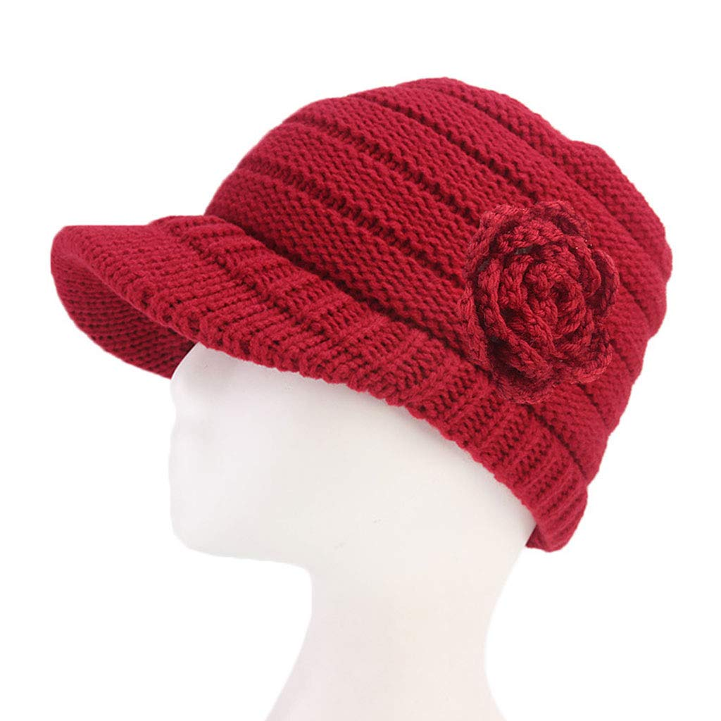 Knitted Hat, Shoresu Women Winter Knitted Baseball Cap Solid Color Flower Beanie Beret Hat with Visor - Royal Blue