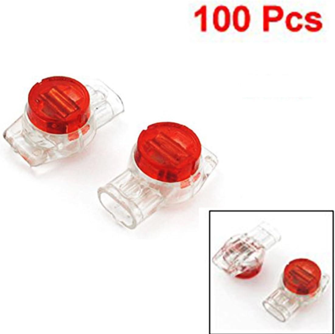 Saim 100/pcs datos tel/éfono alambre Butt Splice 3/Puertos UR Conectores Rojo Claro