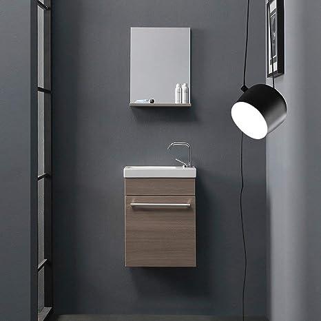 KIAMAMI VALENTINA Mobile Badezimmer, Eiche Rauch, kleine Räume