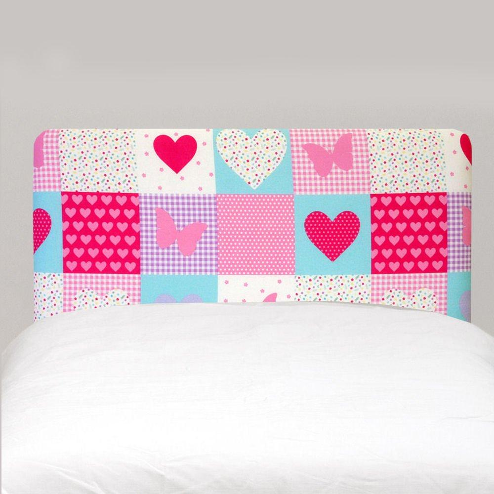 Patchwork Hearts Butterflies Pink Girls Childrens Single Bed Divan Headboard Headboard Patchwork