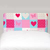 Patchwork Hearts Butterflies Pink Girls Childrens Single Bed Divan Headboard