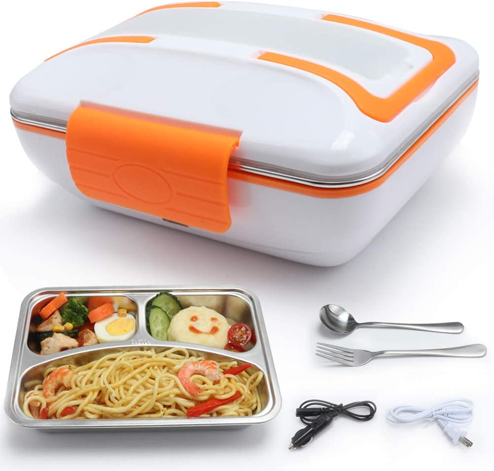 TLOG Electric Lunch Box, 2 in 1 Dual Use 40W for 110V Home & 12V Car/Truck, Stainless Steel Removable Lunch Heater Container with Spoon & Fork 1L Food Grade Material (Orange)