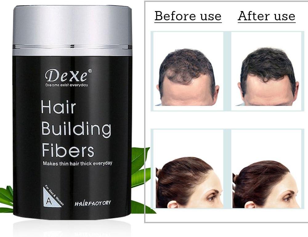 Hair Building Fibers,Fibre Construcción de pelo Fibras de Cabello Naturales,Cabello fino y Escaso para Hombres y Mujeres-Efecto Inmediato (Negro)